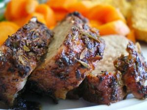 Pork Tenderloin with Cinnamon Scented Sweet Potatoes and Apples