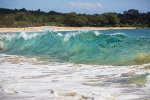 Waves break along Makena Beach