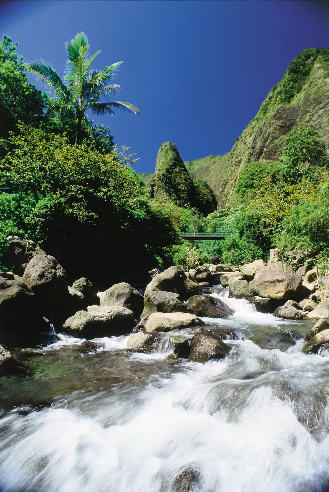 Iao Stream with Iao Needle in background, Iao Valley, Maui