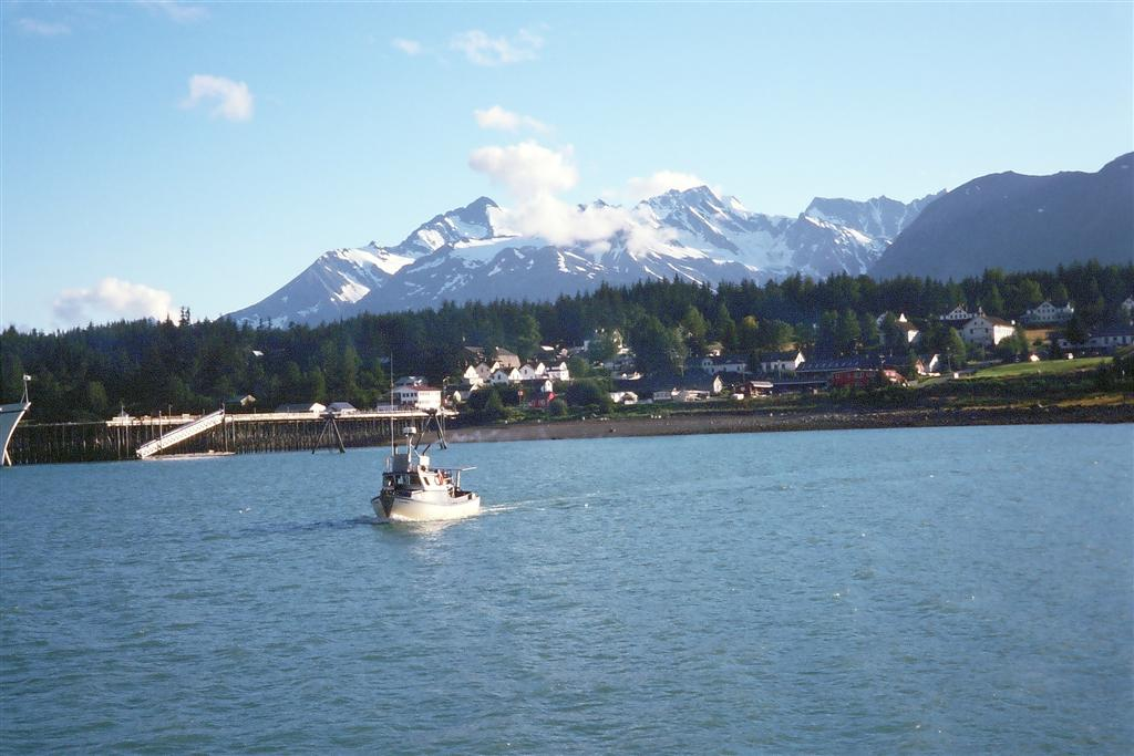 007Fishing boat in Haines Harbor with Fort Seward behind-Linda Ballou (Large)