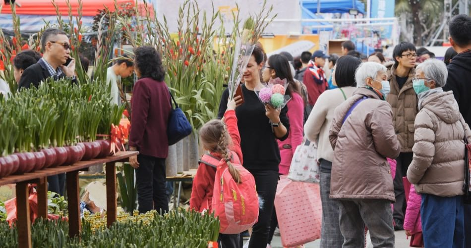 Victoria Park, Hong Kong 14 February 2018:- Hong Kong Lunar new year fair in Victoria park